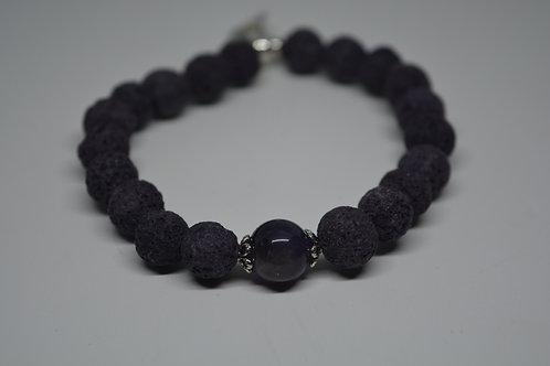 Amethyst Stone and Lava beads