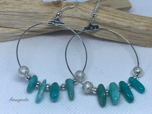 Amazonite Silver Tone Hoops