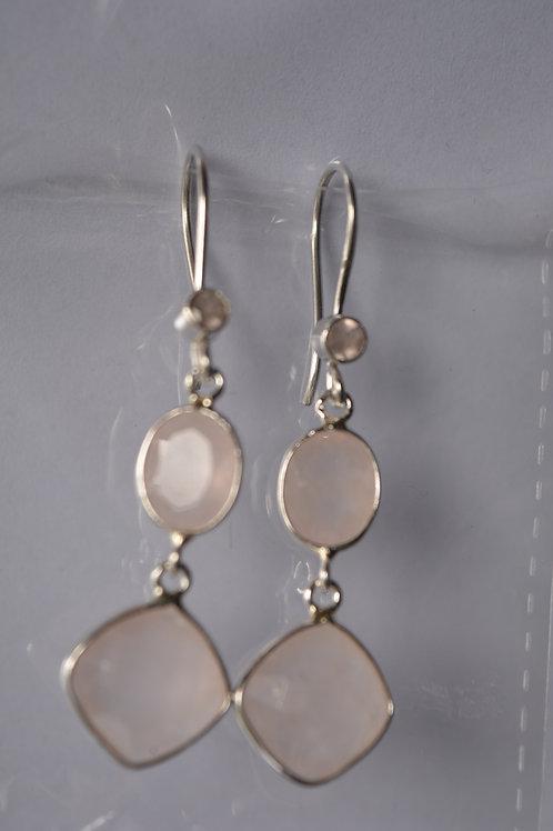 Rose Quartz Sterling Silver drop Earrings