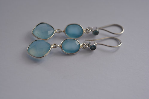 Chalcedony Sterling Silver drop Earrings