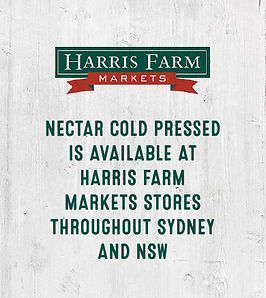 Nectar Cold Pressed is avaialble at Harris Farm throughout Sydney and NSW