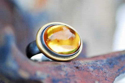 Ring Silber/Gelbgold mit Citrin