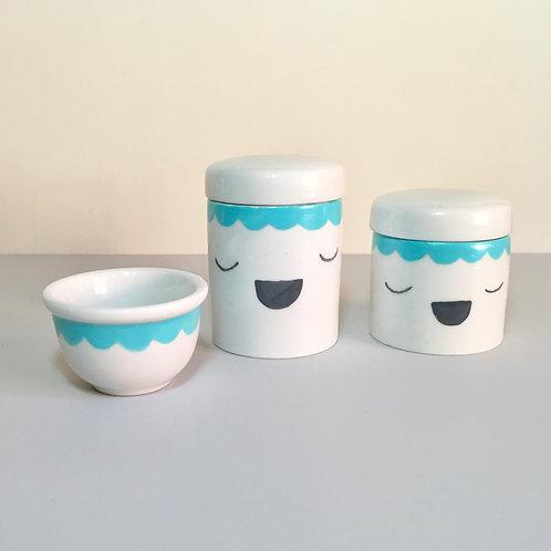 Kit de potes pintados a mão