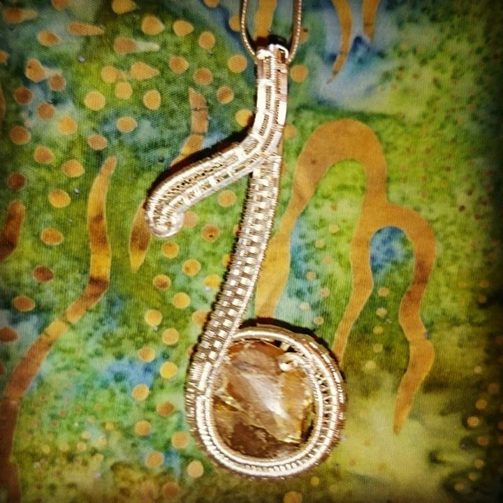 Lil #custom #sterling #silver #amber #musicalnote #pendant #sterlingsilver  #wirewrappedpendant #wir