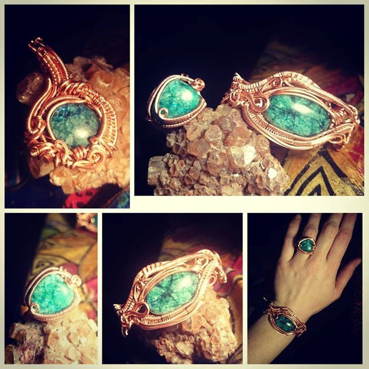 #copper #wirewrapped #jewelryset #coloredmoonstone #moonstone #wirewrap #wireart #wireartist #wirewr