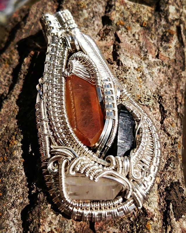 #quartzlovers! Just finished up this lil numba! #quartz #tangerinequartz #smokeyquartz #sterling #si