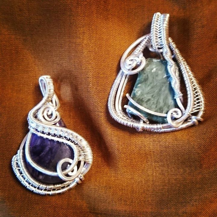 #custom #sterling #silver #wirewrapped #pendants for #twin #sisters made to match their different pe