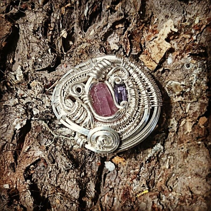 #sterlingsilver #wirewrapped #hatpin #pinktourmaline #iolite #wirewrap #wirewrappedhatpin #wirewrapp