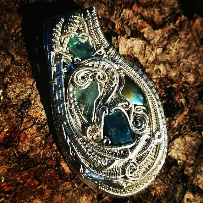 Finished up this #heady piece over the weekend, #sterling #silver #wirewrapped #pendant #sterlingsil