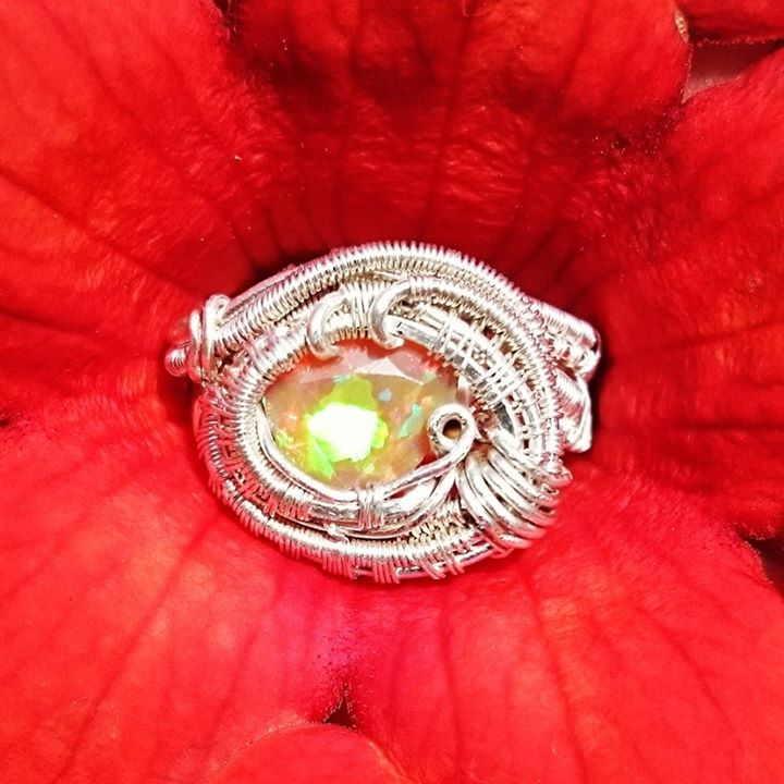 Absolutely stunning trilliant cut #fireopal #sterling #silver #wirewrapped #ring #customwirewrap for