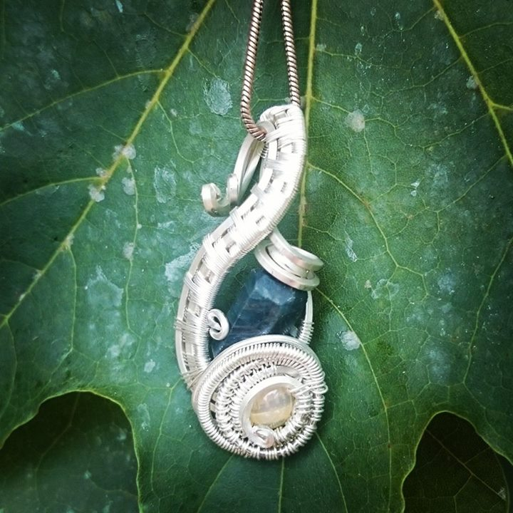 Another Lil one, #blueapatite #opal #sterling #silver #wirewrapped #pendant #wirewrap #wireart #wire