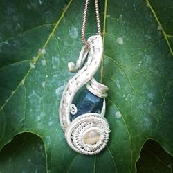 Another Lil one, #blueapatite #opal #sterling #silver #wirewrapped #pendant #wirewrap #wireart #wire