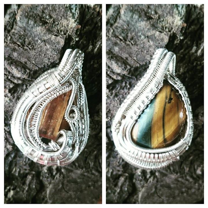 #supafresh #supaclean #customwirewrap #two sided #sterling #silver #bluetigerseye #topaz #sterlingsi