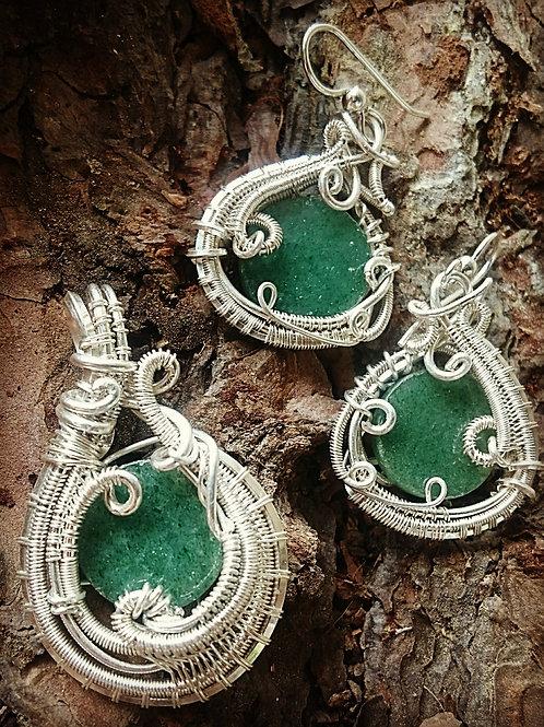 Aventurine jewelry set