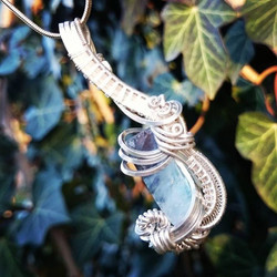 #sterling #silver #wirewrapped #pendant #blue #flourite #blueflourite #sterlingsilver #wirewrap #wir