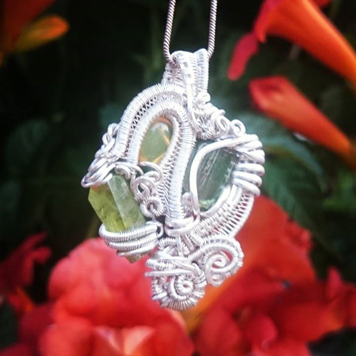#discount price for #recycled #sterling #silver #wirewrapped #pendant #green #flourite #greentourmal
