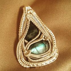 #custom #sterling #silver #wirewrapped #pendant #bluetigerseye #labradorite #sterlingsilver #wirewra