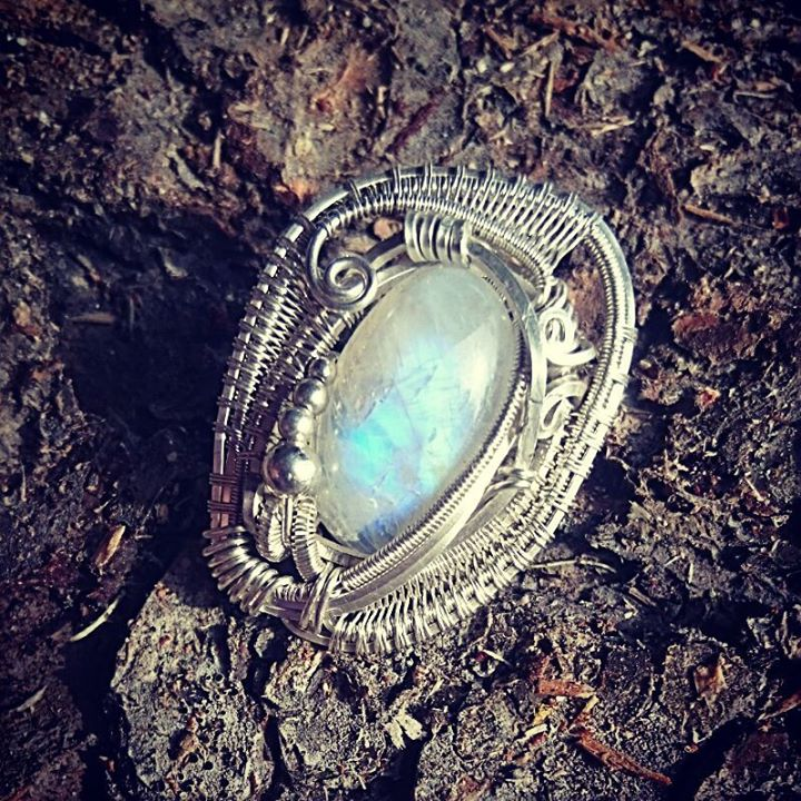 #sterlingsilver #wirewrapped #hatpin #moonstone #wirewrap #wirewrappedhatpin #wirewrappedaccessories