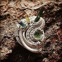 #sterlingsilver #wirewrapped #hatpin #wirewrappedhatpin #greentourmaline x2 #indicolite #moldavite #