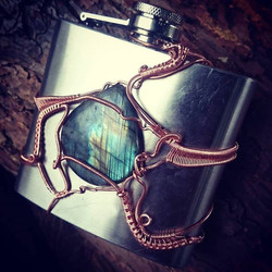 Bustin out some last minute stuff for fair! #barterfair #copper #wirewrapped #flask #labradorite #wi