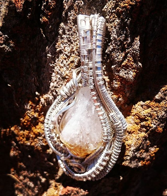 #sterling #silver #wirewrapped #pendant nice chunky piece of raw #citrine #sterlingsilver #wirewrap