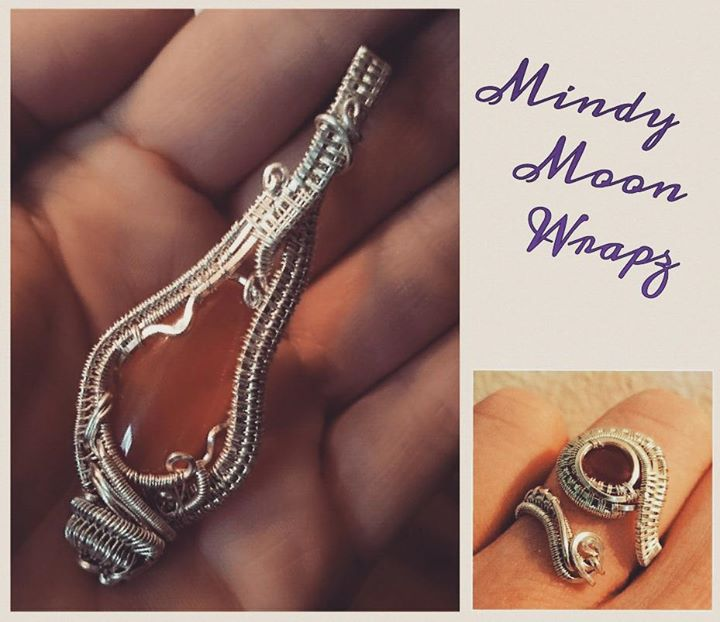 #sterling #silver #wirewrapped #carnelian #pendant and #ring #jewelryset #sterlingsilver #wirewrappe