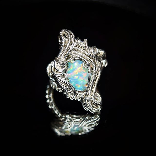 Just finished up this #custom #wirewrapped #ring for a lovely lady!  #ethiopianopal #opal #wirewrapp