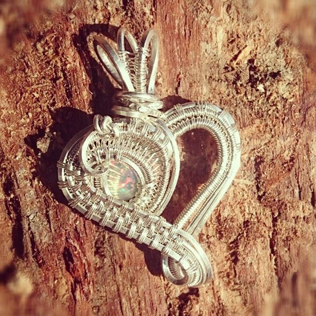 #sterlingsilver #wirewrapped #opal #heart #pendant prefect #Christmas #gift! #wirewrap #wireart #wir