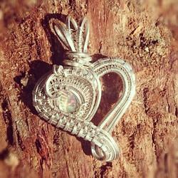 #sterlingsilver #wirewrapped #opal #heart #pendant prefect #Christmas #gift! #wirewrap #wireart #wir