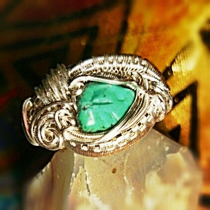 #sterlingsilver #wirewrappedring #turquoise #sterling #silver #wirewrapped #ring #wirewrap #wireart