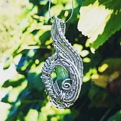 #sterling #silver #wirewrapped #pendant #sterlingsilver #wirewrap #wireart #greentourmaline #wirewra