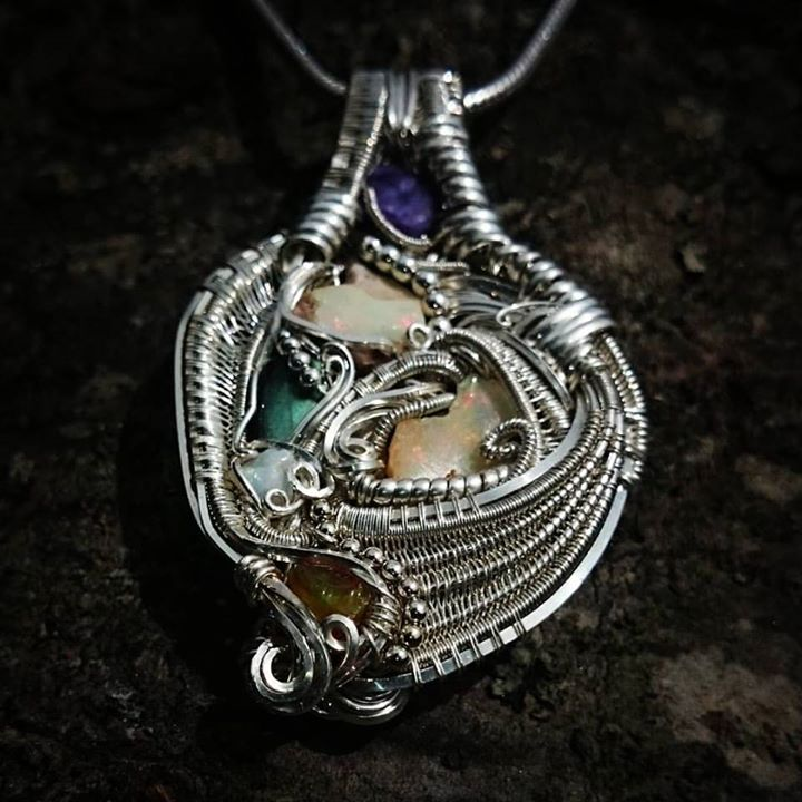 #sterling #silver #wirewrapped #pendant #opal x3 + 1 #chocolateopal #labradorite #charoite #sterling