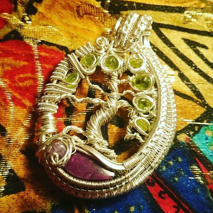 #custom #sterling #silver #wirewrapped #treeoflife #pendant #sugalite #amethyst #peridot x7 #sterlin