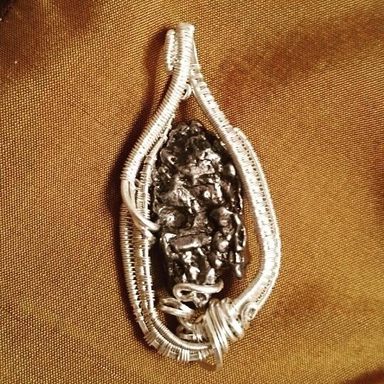 #custom #wirewrapped #pendant #meteorite #sterling #silver #wirewrap #wireart #wirewrappedpendant #w
