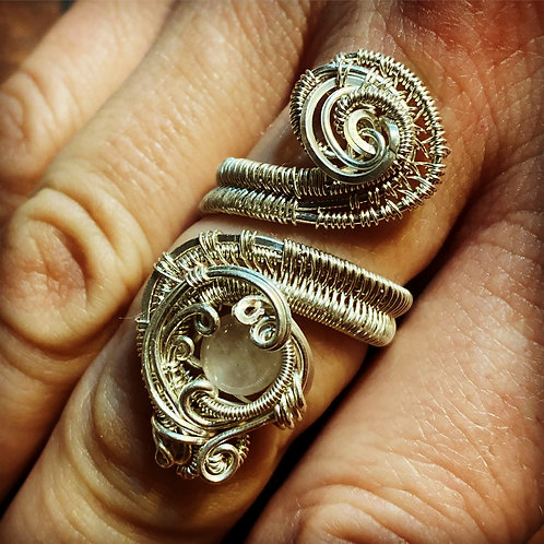 Rose quartz adjustable ring