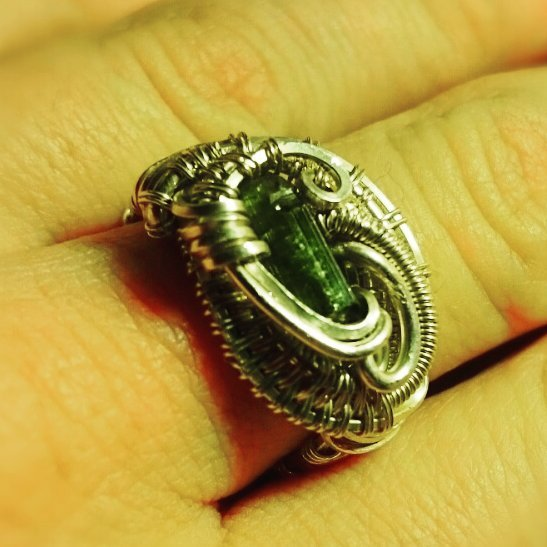 #sterlingsilver #greentourmaline size 7 #wirewrapped #ring #wirewrap #wirewraps #wireart #wireartist