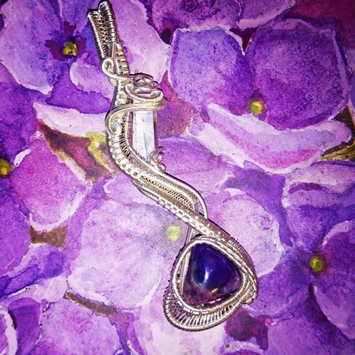 #supafresh #supaclean #sleek #classy #wirewrapped #pendant #sugalite and #lumerian #sterling #silver