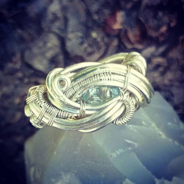 Gettin back on that #ring game! #sterlingsilver size 7 #aquamarine #wirewrappedring #wirewrapped #ri