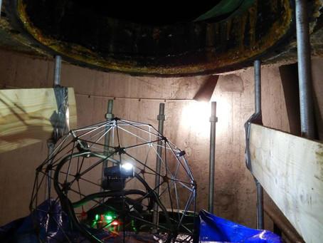 Invändig inspektion av vattentorn med drönaren Elios