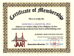 Certificate of Editorial Review Board Me