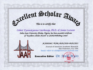 Certificate of Excellent Scholar Award I