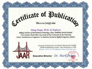 Certificate of Publication Wang Duqin Ap
