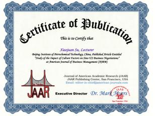 Certificate of Publication Xiaojuan Su B