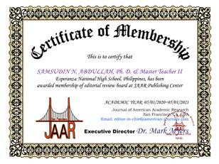 Certificate of Membership Samsudin Abdul