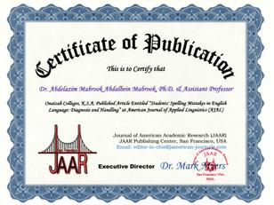 Certificate of Publicaiton Abdelazim Mab