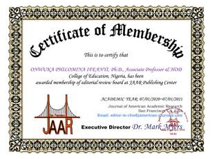 Certificate of Membership Philomina Onwu
