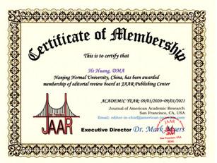 Certificate of Membership He Huang June