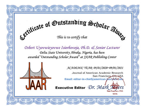 Certificate of Outstanding Scholar Award