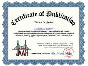 Certificate of Publication Xiaojuan Su A