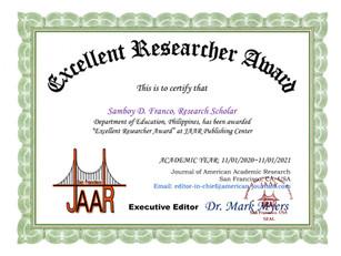 Samboy D. Franco_Excellent Researcher Aw